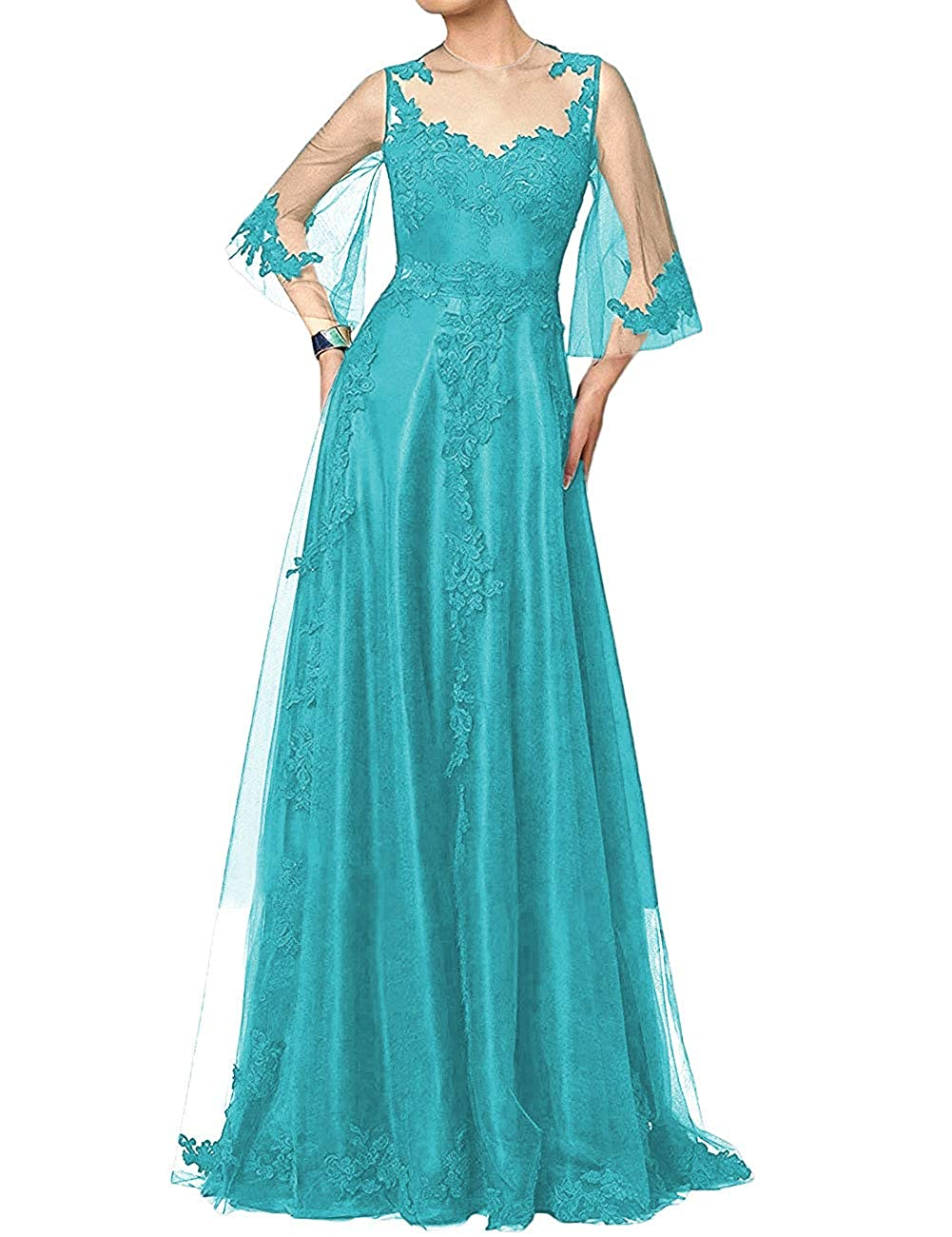 Teal bluee H.S.D Mother of The Bride Dress Aline Mother Dresses Long Prom Evening Gowns Sleeve