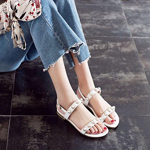 scarpe JING sandali di codice rugiada white perla dimensioni in pelle studente donne femminili Sandali wr76Tqr4X