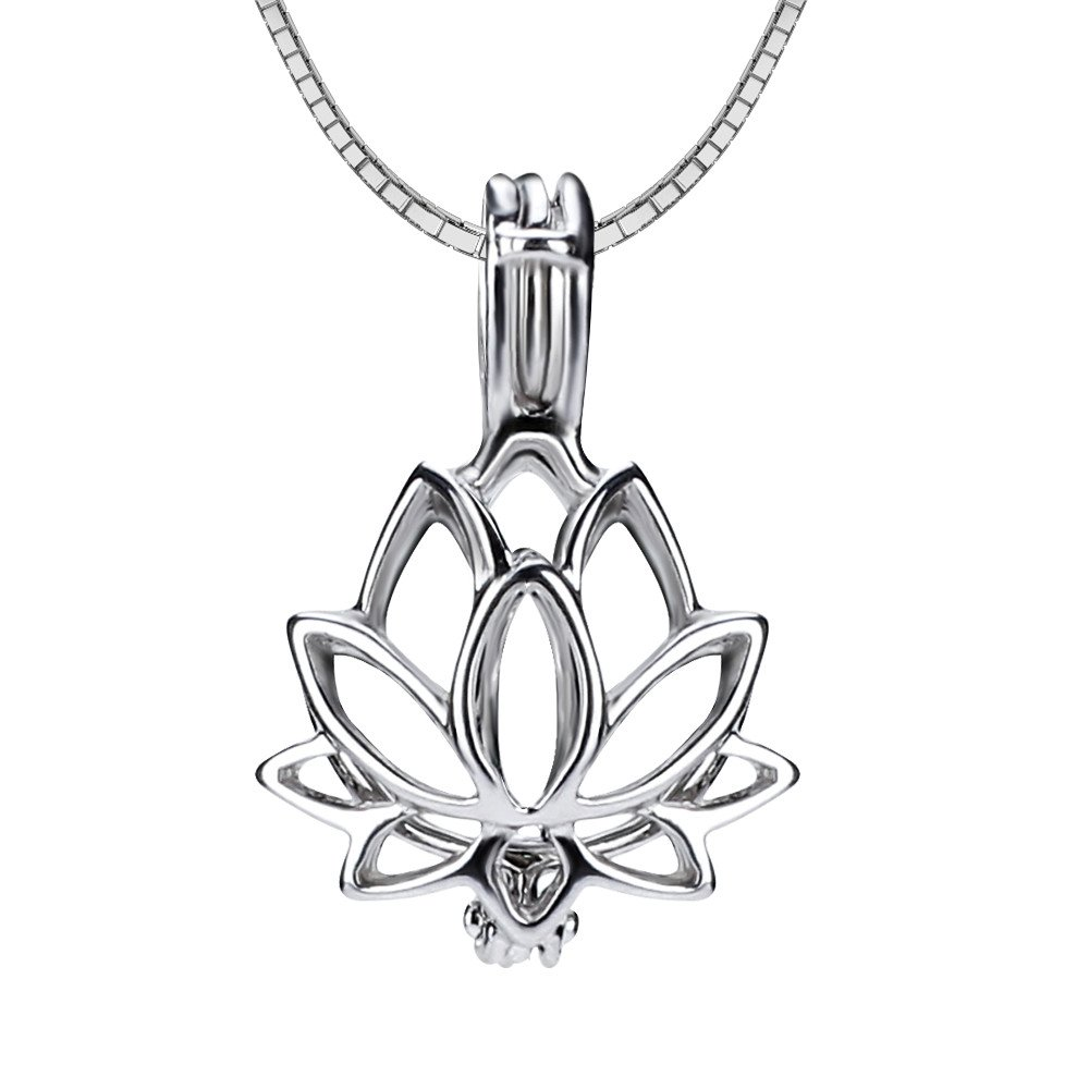Amazon Sterling Silver Lotus Flower Cage Pendant Pack Of 3pcs