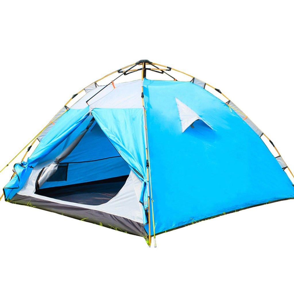 ZP テント、自動テントアウトドアファミリーダブルレイヤフィールドキャンプ huwaizhangpeng  青 B07CSLC16W