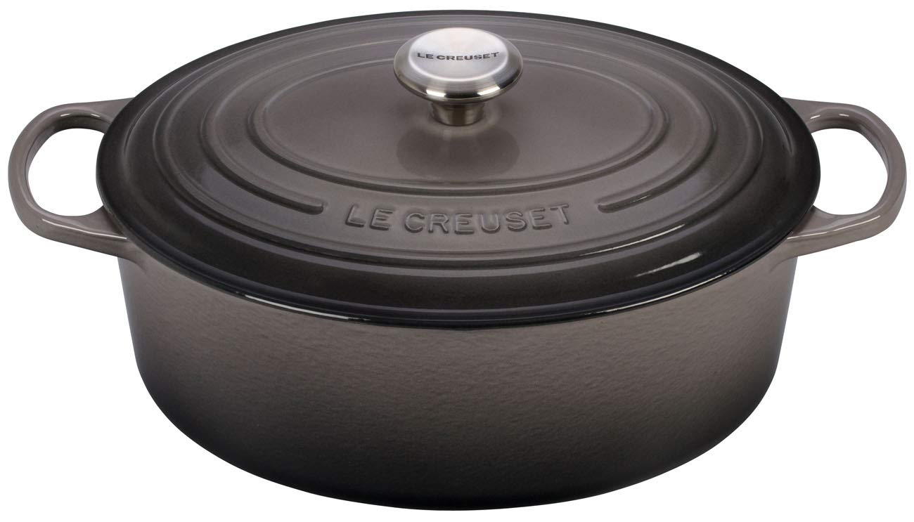 Le Creuset Signature Enameled Cast-Iron 6.75 Quart Oval French (Dutch) Oven, Oyster