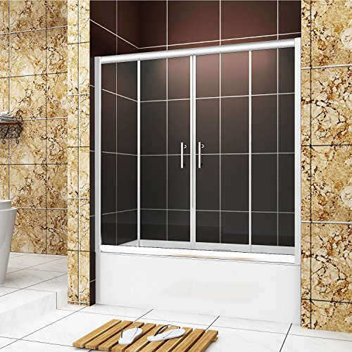 "delicate SUNNY SHOWER 58.5"" - 60"" Width x 62"" Height, semi framed two sliding center bathtub doors, 1/4"" clear glass, chrome finish"