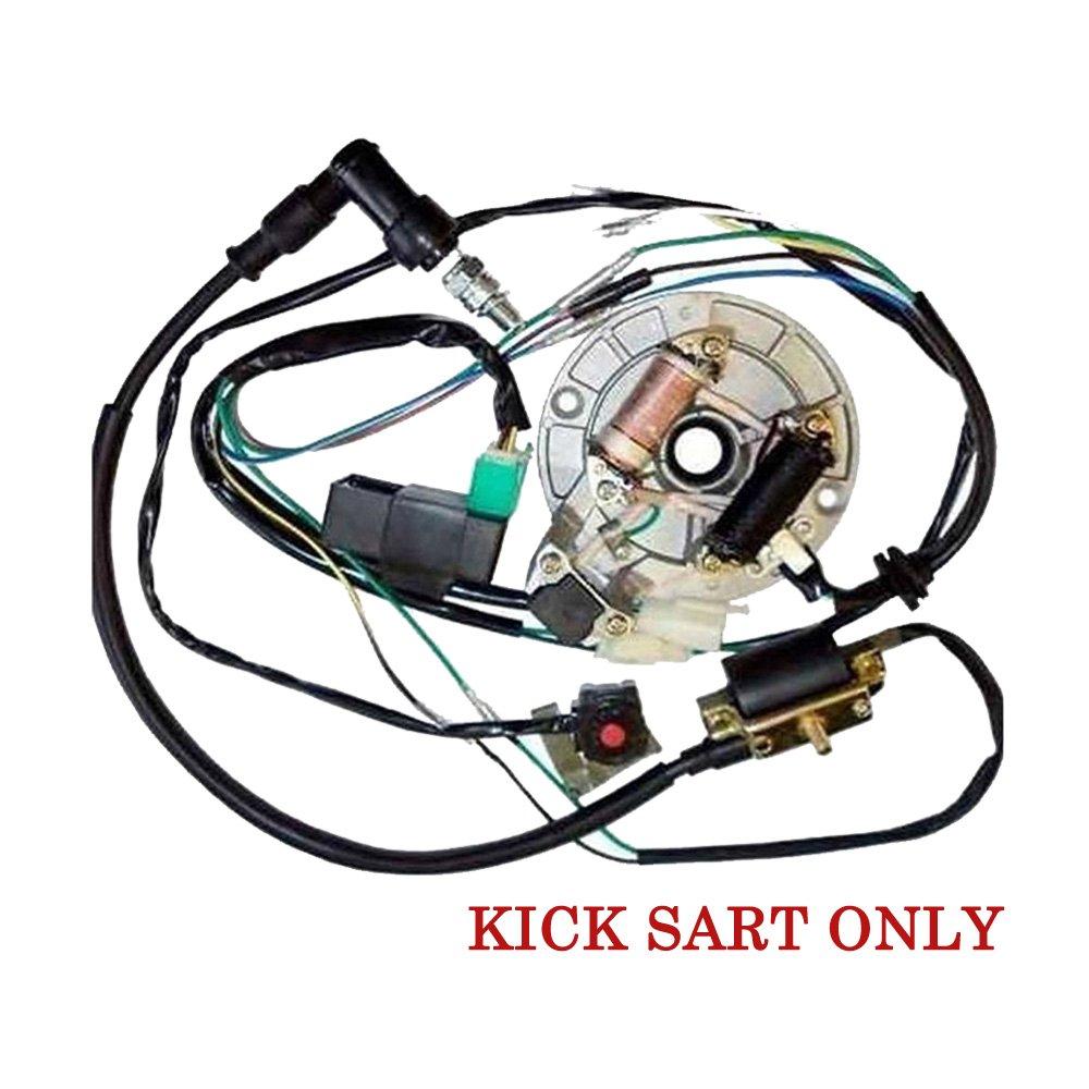 amazon com: electrics wire harness kick start cdi dual coil magneto for 50-