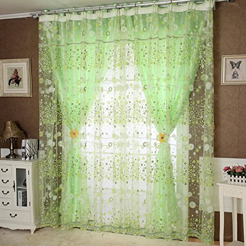 1Pc Floral Door Window Voile Tulle Valance Curtain (Coffee) - 7