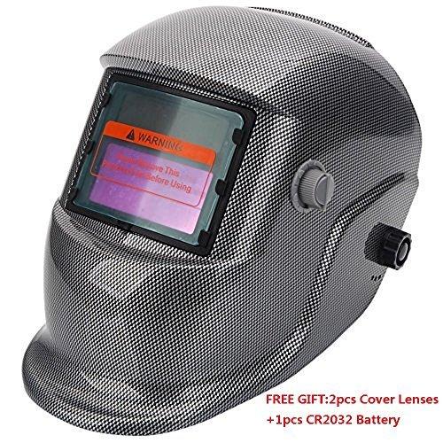 Z ZTDM Welding Helmet Pro Solar Auto Darkening,Adjustable Shade Range DIN 9-13/REST DIN 4,Welder Protective Gear ARC MIG TIG,2pcs Extra Lens+CR2032 Battery,CE EN379 ANSI Z87.1 (Flame - Square Forehead