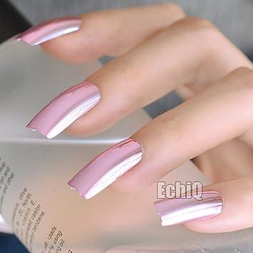 Metallic Nail Art Tipps Quadratisch Top Extra Lang Acryl Nagel Pink