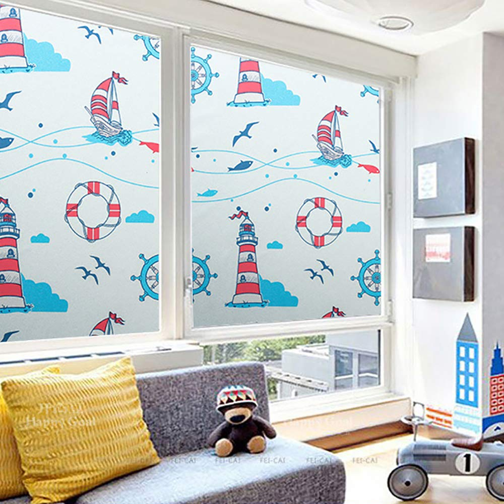 Privacy Window Sticker Cartoon Lighthouse 17.7x78.7 inch No Adhesive Stained Glass Window Decoration for Kids Room