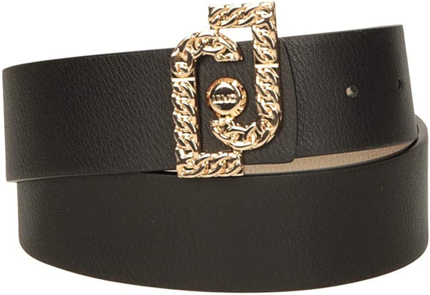 Cintura donna Liu-Jo reversibile logo buckle chain in ecopelle nero//gold C21LJ05