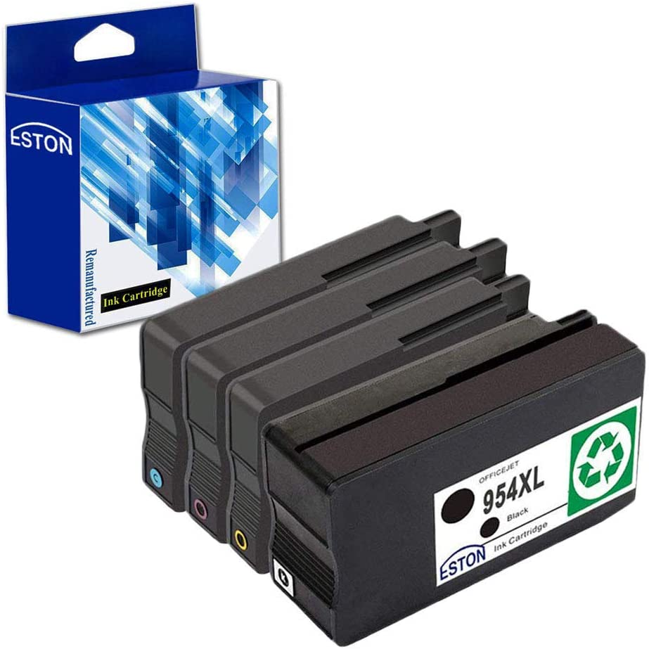 ESTON Remanufactured for 954XL 954 XL High Yield Ink Cartridges - 4 Pack (Black Cyan Magenta Yellow) for OfficeJet Pro 8210 8710 8720 8730 Printers
