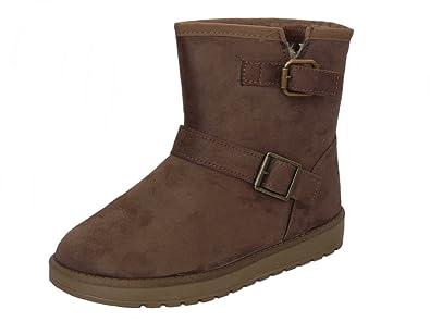 5f6c68e1d98d5 Cushion Walk Women's Faux Suede Fur Lined Warm Winter Boots Size 3-8 ...