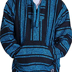 Orizaba Original Baja Hoodie Drug Rug - Light Blue Black Classic - Shasta S