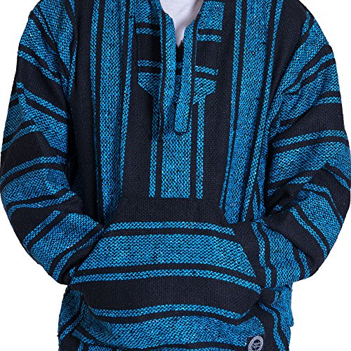 Traditional Mens Sweatshirt - Orizaba Original Baja Hoodie Drug Rug - Light Blue Black Classic - Shasta XL