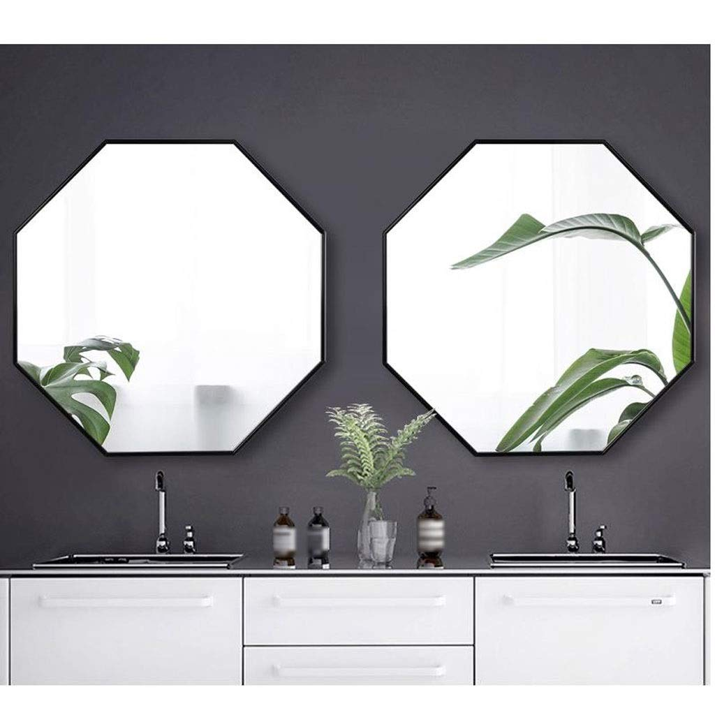 Grande Specchio Esagonale da Parete Decorativo Vintage in Metallo Nero corridoio Ingresso Bagno 60 60 cm KY-01 Specchio da Parete