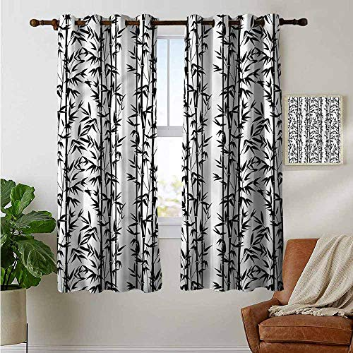 petpany Living Room Curtains Bamboo,Monochrome Natural Forest,Adjustable Tie Up Shade Rod Pocket Curtain 42