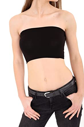 b664e312e9 Red Olives Womens Strapless Stretch Bra Crop Top Ladies Bandeau Boob Tube  Sizes UK 8-14  Amazon.co.uk  Clothing