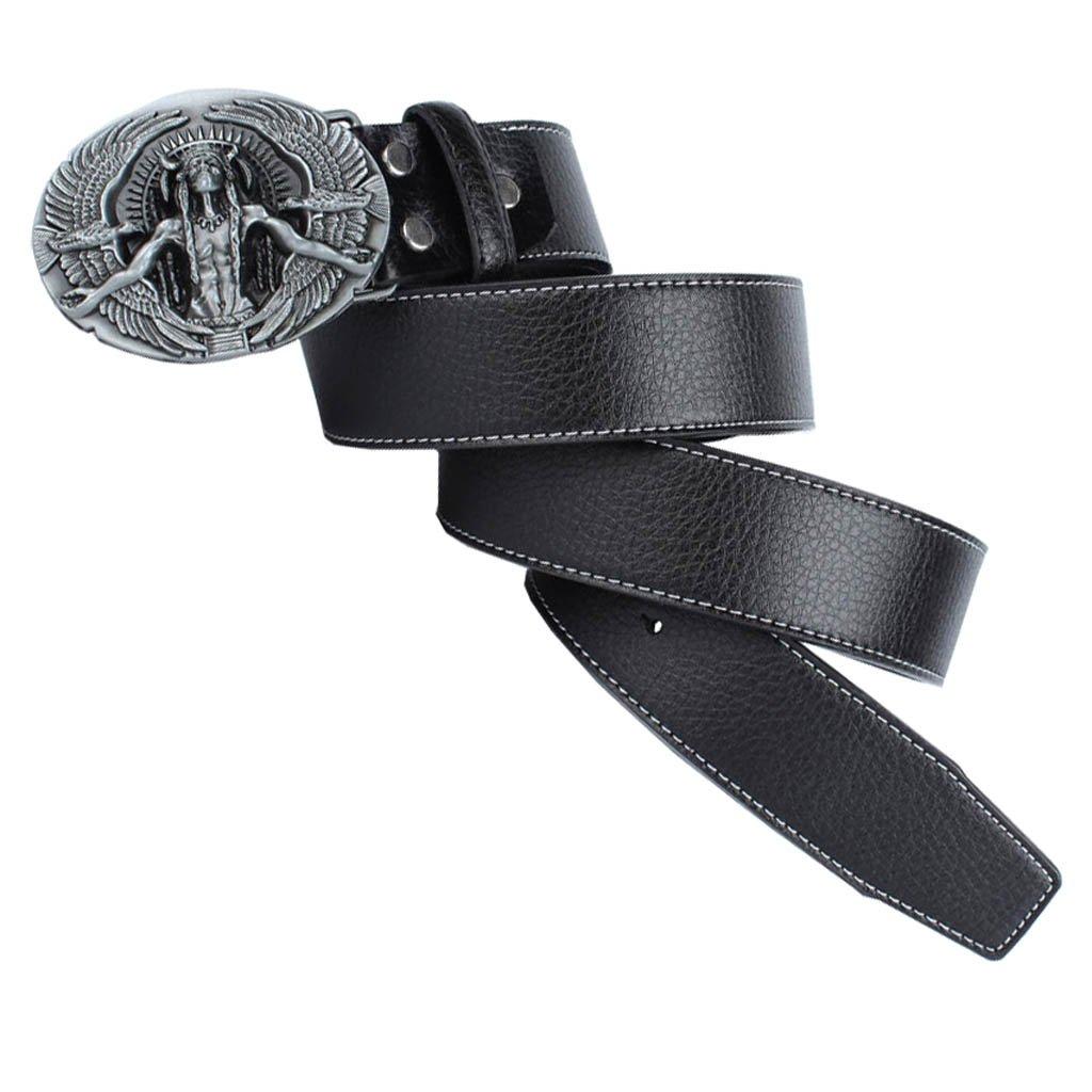 SM SunniMix 2pcs Retro Mens Leather Belt Waistband with Metal Indian Chief Buckle Belts Hip Hop