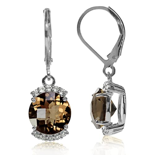 4.5ct. Natural Smoky Quartz Topaz White Gold Plated 925 Sterling Silver Leverback Earrings
