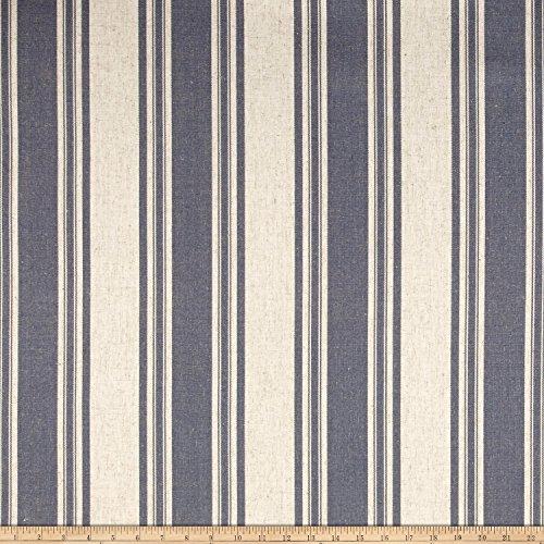 - WAVERLY Thames Stripe Linen Fabric, Indigo