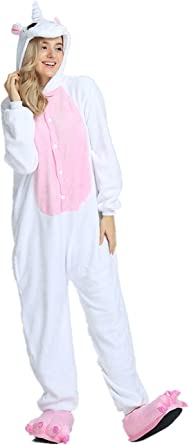 Rainbow Unicorn Unisex Adultos Pijamas de Unicornio Animal Franela Cosplay Disfraces Mono de Fiesta de Halloween Carnaval Novedad Trajes de Estado