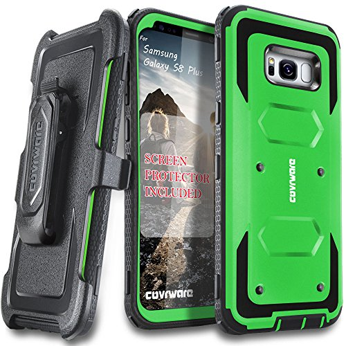 Samsung Galaxy S8 Plus Case, [Aegis Series] + Full-Coverage Screen Protector, Heavy Duty Rugged Full-Body Armor Holster Case [Belt Swivel Clip][Kickstand] for Samsung Galaxy S8 +, Green