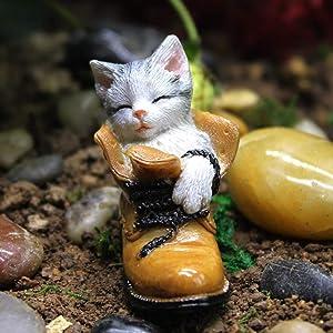 Danmu 1Pc of Polyresin Small Sleeping Kitten Miniature Figurines, Fairy Garden Accessories, Fairy Garden Supplies, Fairy Garden Animals for Fairy Garden, Bonsai Craft Decor 1 4/5