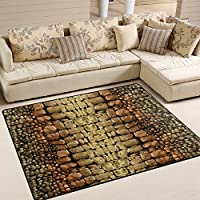 Naanle Animal Print Area Rug 5x7, Snake Print Polyester Area Rug Mat for Living Dining Dorm Room Bedroom Home Decorative
