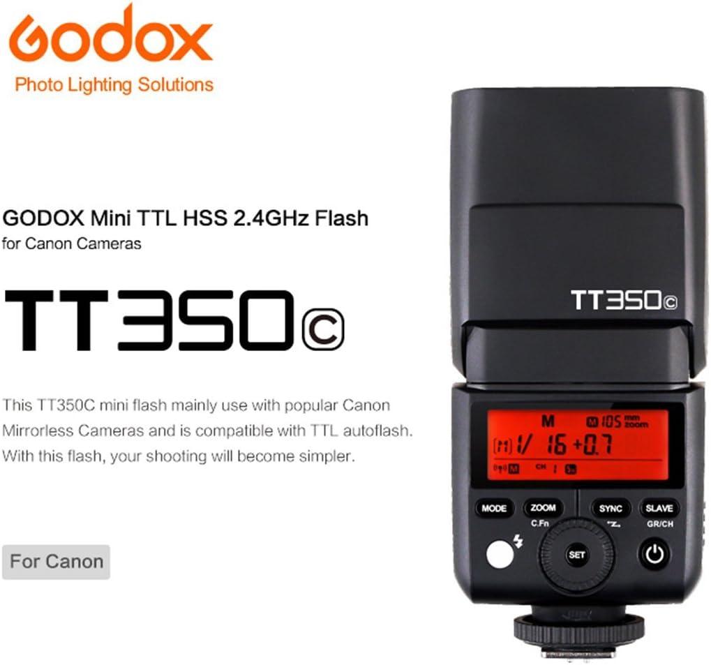 80D 7D 760D 600D 100D 1100D DSLR Camera Godox TT350C Mini TTL Flash Speedlite 2.4G Wireless GN36 1//8000s HSS for Canon EOS 5D Mark III