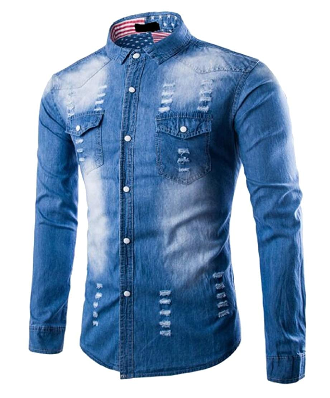 Jotebriyo Mens Casual Hole Long Sleeve Buttons Washed Pockets Shirts