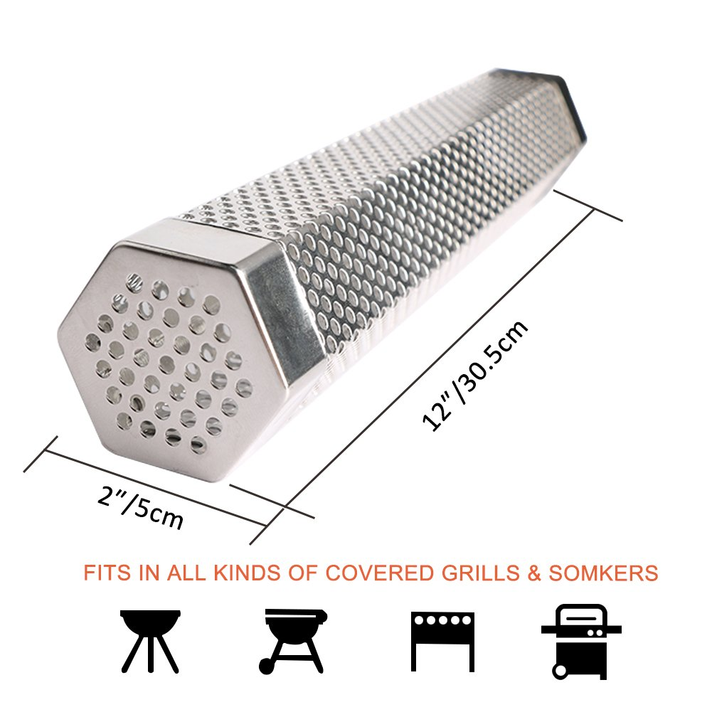 NABLUE Pellet Smoker Cube (12 Inch ) -Perforated Stainless Steel Perforated Wood Pellet Smoker,BBQ Smoke Generator To Add Smoke Flavor to All Grilled Foods(Hot or Cold Smoking ) by NABLUE (Image #3)