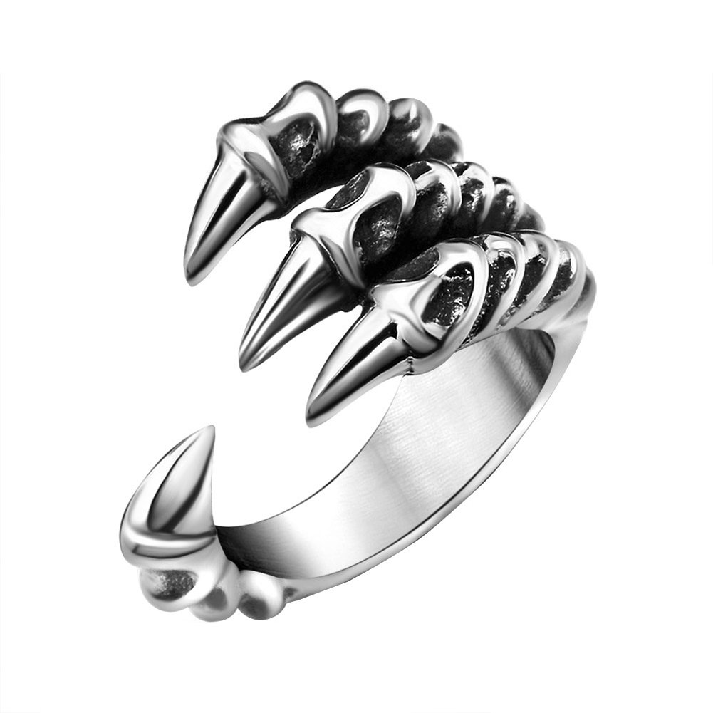 FANSING Mens Biker Ring, Punk Dragon Claw Rings, Stainless Steel, Casting Black, Size 7-12 DGMENGHUAN