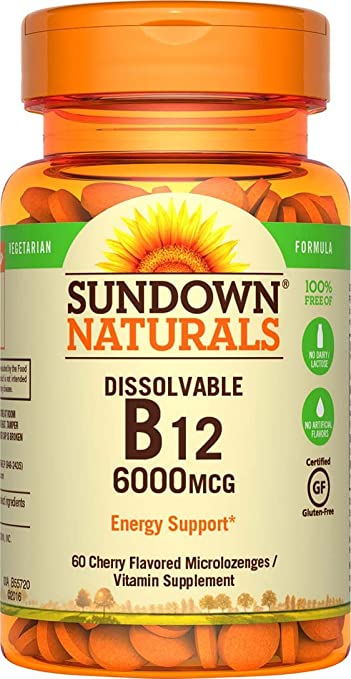 Amazon.com : Sundown Naturals Sublingual B-12 6000 Mcg Tablets, 120 Count (2 X 60 Count Bottles) : Grocery & Gourmet Food