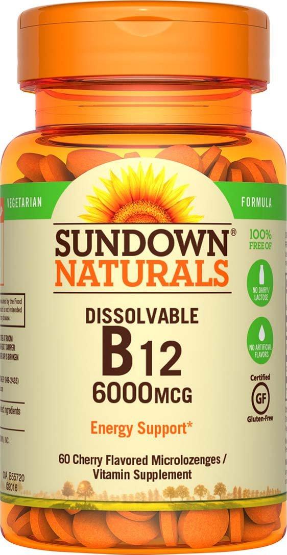 Sundown Naturals Sublingual Vitamin B-12 6000 mcg, 60 Tablets Cherry Flavor