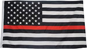 Ashley ZC Thin Red Line USA Polyester Flags 3x5 Ft, Honoring Firefighter and Law Enforcement Officers Flag with Brass Grommets - Bright Color and UV Protection