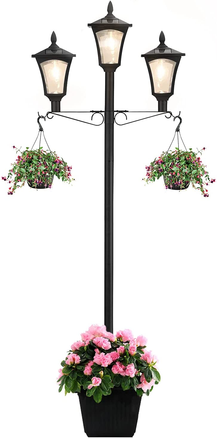 Lovinouse 67 Inch Outdoor Solar Lamp Post Light with Planter, Solar Powered Vintage Street Lights for Outdoor Landscape Pathway Patio Garden Yard (67 Inch with 3 Light)