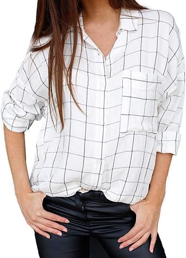 ALIKEEY Camisa A Rayas De Manga Larga con Botones A Cuadros De Manga Larga para Mujer con Bolsillo: Amazon.es: Ropa y accesorios