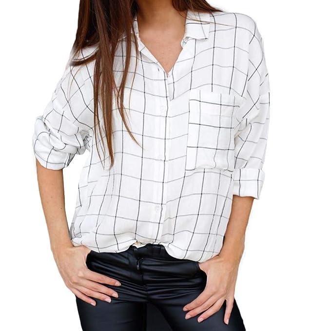 Blusas Mujer Vera, Camisa A Rayas De Manga Larga con Botones A Cuadros De Manga Larga para Mujer con Bolsillo: Amazon.es: Ropa y accesorios