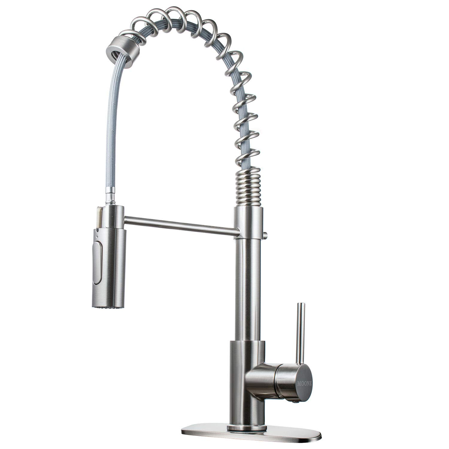Moone Commercial Spring Kitchen Faucet Single Handle Pull Down Sprayer Brass Body Pull Out Spray Head Sink Faucets Stainless Steel Brushed Nickel with Deck Plate, IAPMO & cUPC Certification