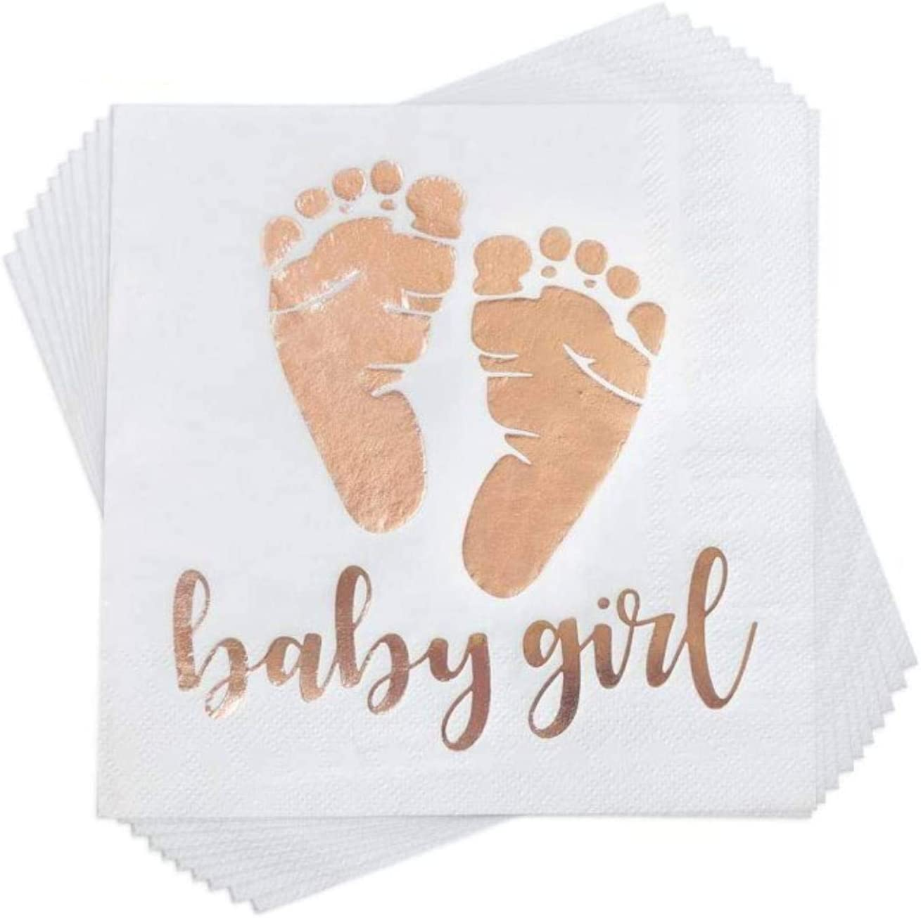Trgowaul 100 Pack Baby Girl Shower Napkins Rose Gold Baby Girl Letters and Baby Footprint Pattern Beverage Napkins 3-Ply White Paper Cocktail Napkins for Girl Baby Shower Party