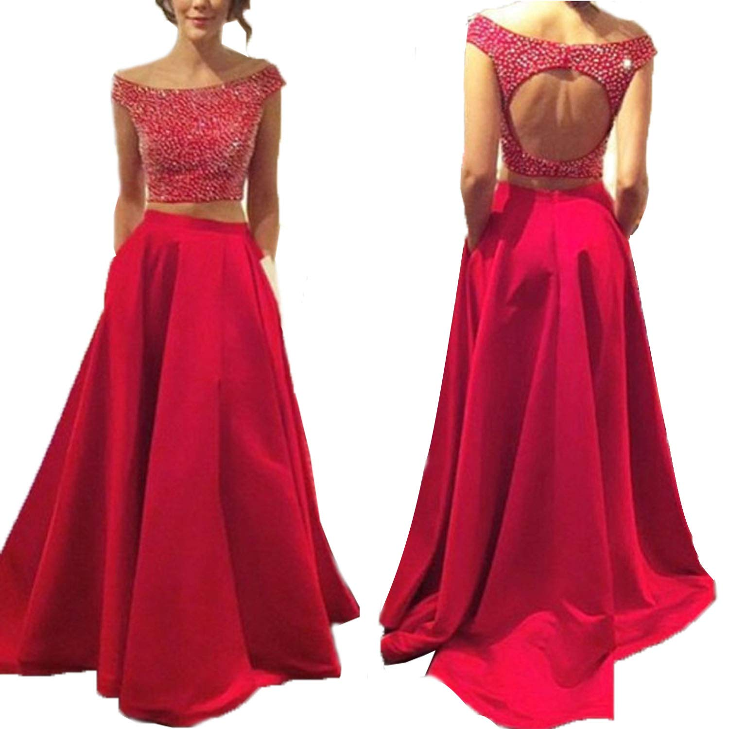 Red Promworld Stain Beaded Two Pieces Long Prom Dress A Line Off Shoulder Evening Gowns For Women Formal