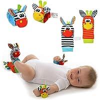 Calcetines y Pulseras Sonaja para Bebé (4PACK) - Sonajeros para Estimulación - PACK 4 piezas