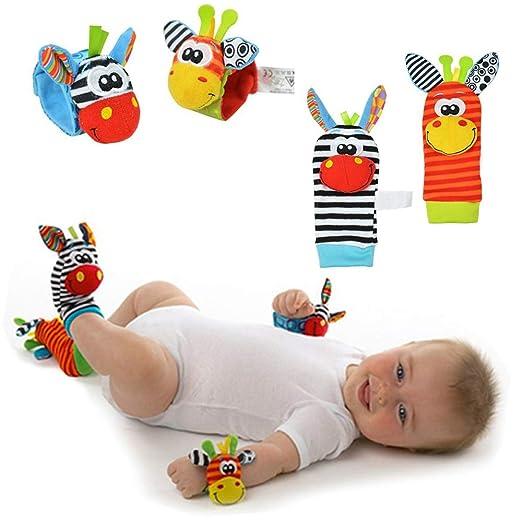 Calcetines y Pulseras Sonaja para Bebé 4PACK - Sonajeros para Estimulación - PACK 4 piezas