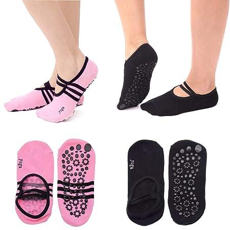GOUPPER Non Slip Yoga Socks Women, 2 Pairs Black/Pink Low ...