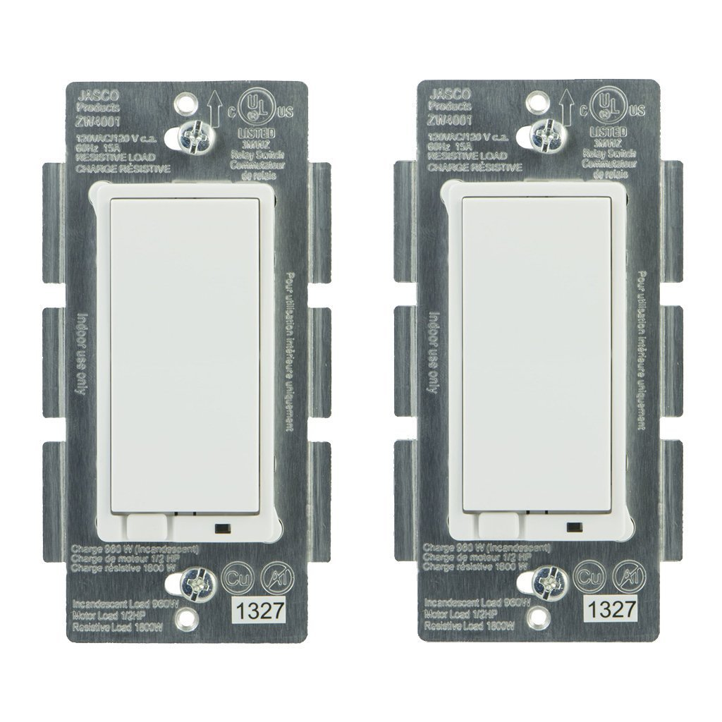 Jasco 45609 Z Wave Wireless Lighting Control On Off Switch 2 Pack Loop To Controls The Outlet And Lite No Gound Wires