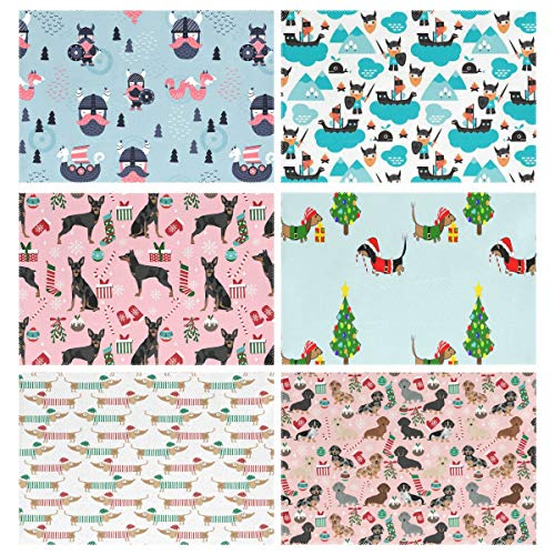 Placemats Set of 6, Scandinavian Viking (2) (1) Miniature Doberman Pinscher Dog Christmas Stockings Lovers Pink Dachshund Elf Santa Tree With Hats Through The Snow White Dachshunds Doxie Xmas Dogs Din