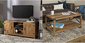 Walker Edison Furniture Company Farmhouse Barn Wood Universal Stand & Rustic Modern Farmhouse Metal and Wood Rectangle Accent Coffee Table Living Room Ottoman Storage Shelf, Reclaimed Barnwood