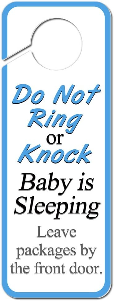 Graphics and More Do Not Ring or Knock Baby is Sleeping Leave Packages by The Front Door Plastic Door Knob Hanger Sign