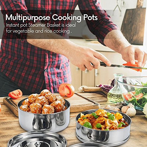 Stackable Stainless Steel Pressure Cooker Steamer Insert Pans with sling - For Instant Pot Accessories 6,8 qt-Baking, Casseroles, Lasagna Pans, Food Cooker, Upgraded Interchangeable Lid-Instapot Pans by SMART COOKING IDEAS (Image #6)