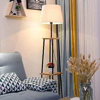 PPAMZ Lampara pie Salon con Estante LED, Nórdico Estilo Lámpara de pie E27, con Tire del Interruptor, para Salon Dormitorio Dormitorio Estudio luz de Lectura: Amazon.es: Iluminación