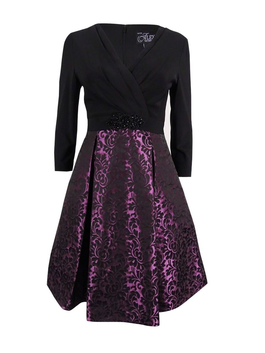 Alex Evenings Women Petite Pleated Colorblock Sheath Dress