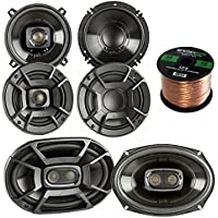 2x Polk Audio DB522 5.25-Inch 300-Watt 2-Way Speakers, 2x DB6502 6.5 300W 2 Way Car/Marine Speakers, 2x 6x9 Inch 450W 3-Way Car/ Boat Coaxial Stereo Audio Speakers, Enrock 16-Gauge 50 Ft Speaker Wire
